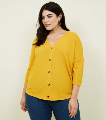 Curves Mustard Fine Knit Button Front T-Shirt