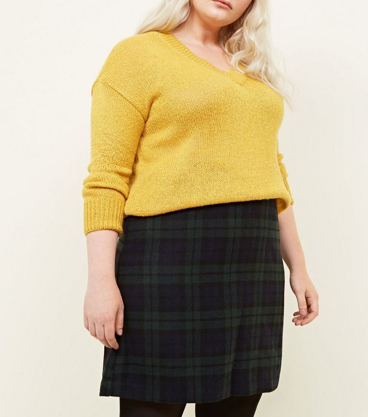 91485518f9 Curves Dark Green Brushed Check A-Line Skirt | New Look