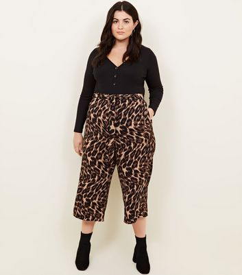 Curves Brown Leopard Print Cropped Trousers