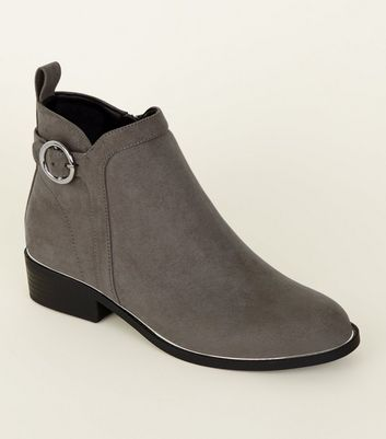 Girls Grey Suedette Ring Strap Ankle Boots