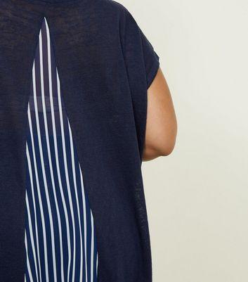 Blue Vanilla Curves Navy Stripe Fine Knit T-Shirt New Look