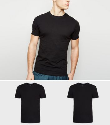 2 Pack Black Muscle Fit T-Shirts