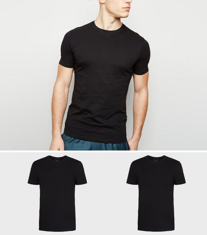 02992340e 2 Pack Black Muscle Fit T-Shirts | New Look