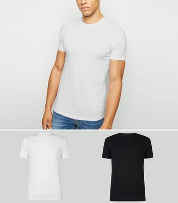 2 Pack Black and White Muscle Fit T-Shirts
