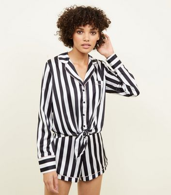 Black Stripe Satin Pyjama Set