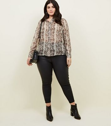 Curves Brown Snake Print Glitter Stripe Shirt