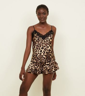 Cameo Rose Brown Leopard Print Lace Trim Cami New Look
