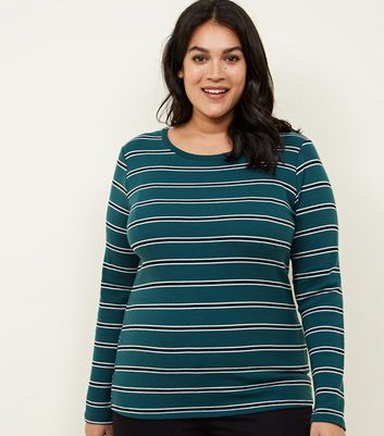 Curves Dark Green Stripe Long Sleeve T-Shirt