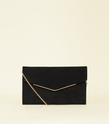 Black Suedette Metal Trim Envelope Clutch