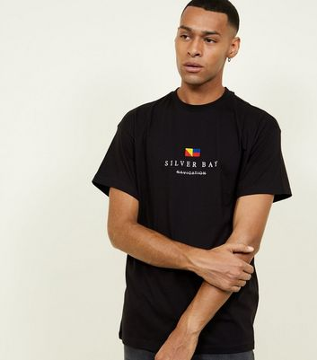 Black Silver Bay Embroidered T-Shirt