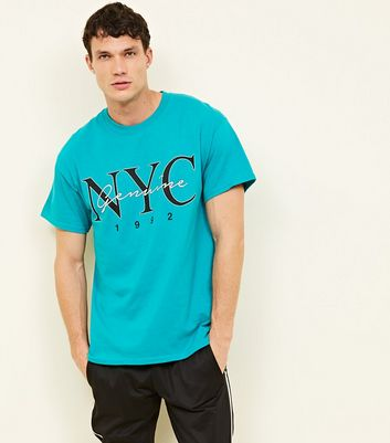Turquoise NYC Genuine 1992 Slogan Printed T-Shirt