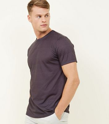 Dark Grey Houndstooth Print T-Shirt