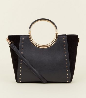 Black Studded Circle Metal Handle Tote