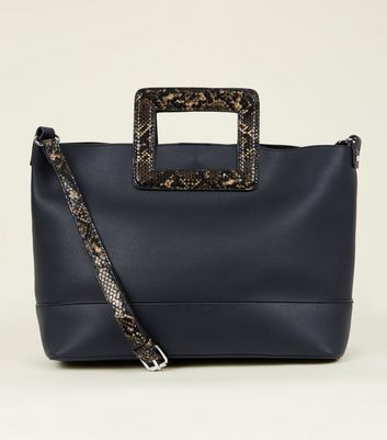 Black Faux Snake Handle Tote Bag