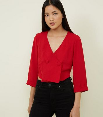 Red Double Breasted Button Front Shirt
