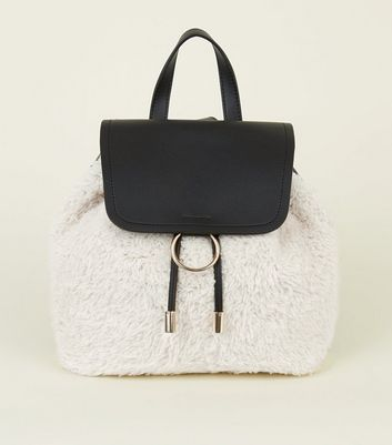Black Leather-look Shearling Front Backpack
