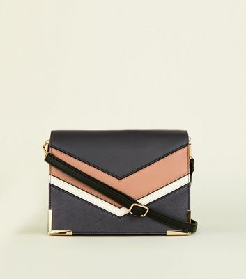 Black Colour Block Chevron Shoulder Bag