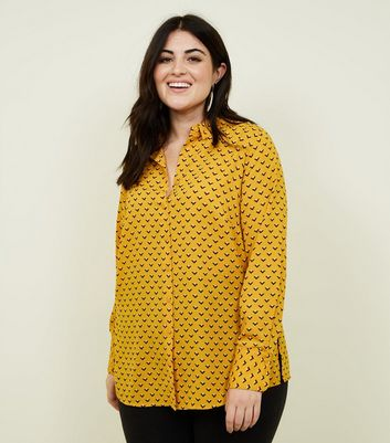 Curves Yellow Geometric Print Long Sleeve Shirt
