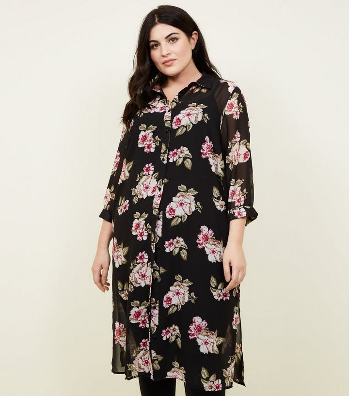 caacacf7 Curves Black Floral Chiffon Longline Shirt | New Look