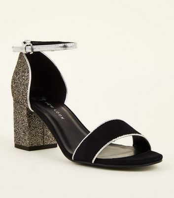 Girls Black Glitter and Metallic Block Heel Sandals