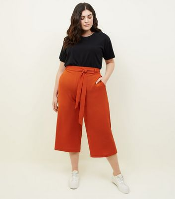 Curves Rust Tie Waist Cropped Trousers