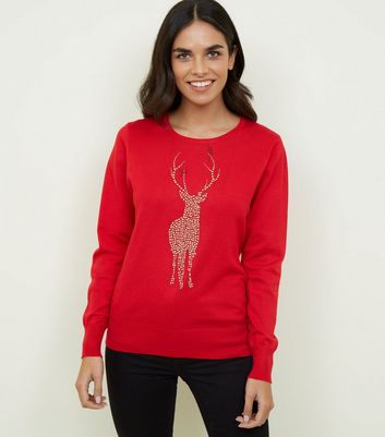 Mela Red Reindeer Studded Christmas Jumper