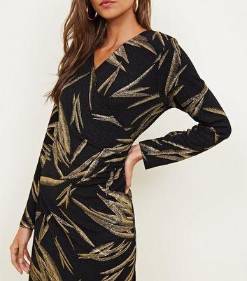 Mela Black Gold Metallic Leaf Print Dress New Look