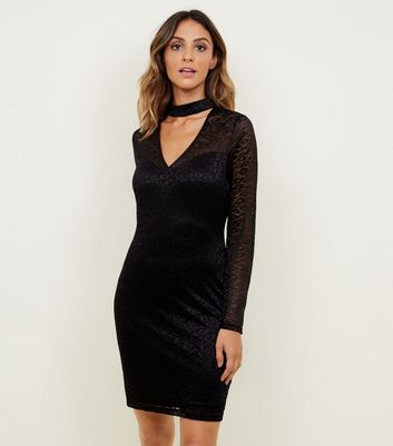 Mela Black Leopard Lace Choker Neck Bodycon Dress