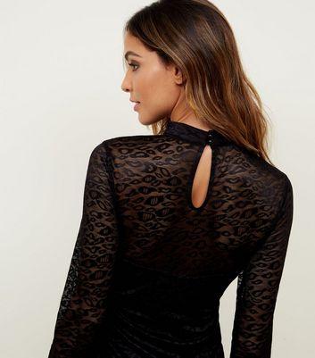 Mela Black Leopard Lace Choker Neck Bodycon Dress New Look
