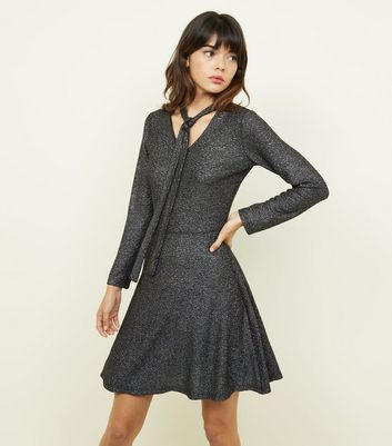 Mela Silver Tie Neck Skater Dress