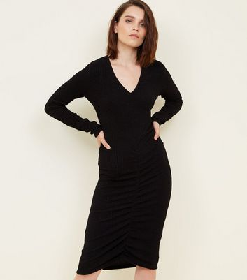 Mela Black Glitter Ruched Front Dress