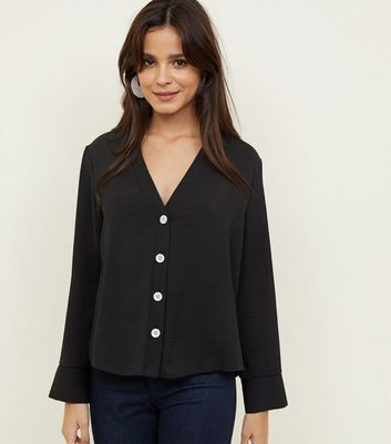 Black Button Front Long Sleeve Shirt