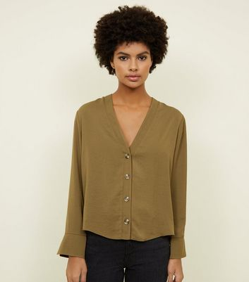Khaki Button Front Long Sleeve Shirt