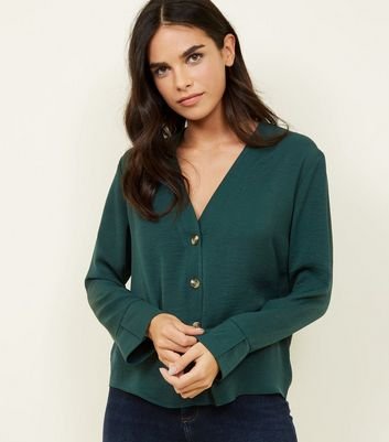 Dark Green Button Front Long Sleeve Shirt