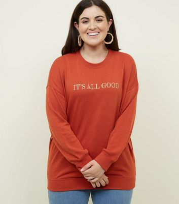 Curves Orange It's All Good Embroidered Sweatshirt