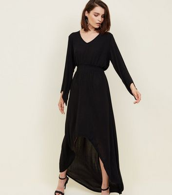 Mela Black Slinky Glitter Flared Sleeve Dress