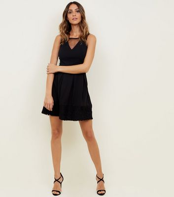 Mela Black Mesh Panel Lace Hem Skater Dress New Look