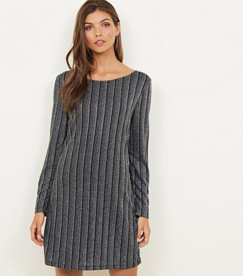 Mela Silver Textured Glitter Stripe Dress
