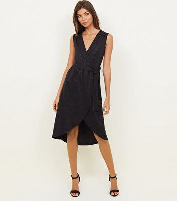Mela Black Glitter V Neck Midi Dress