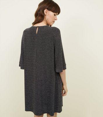 Black Glittery Gathered Neckline Swing Dress New Look