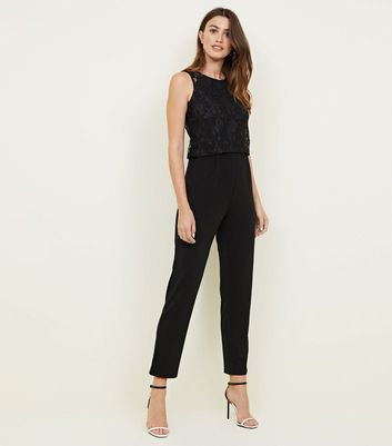 Mela Black Lace Bodice Sleeveless Jumpsuit