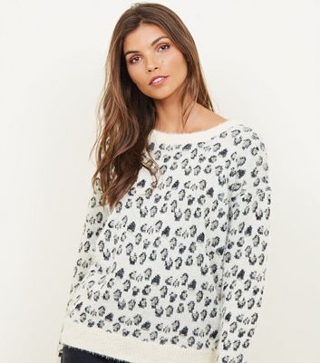 Mela Off White Metallic Leopard Print Jumper