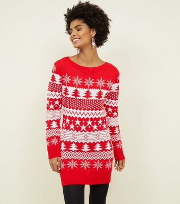 Mela Red Fairisle Knit Longline Christmas Jumper