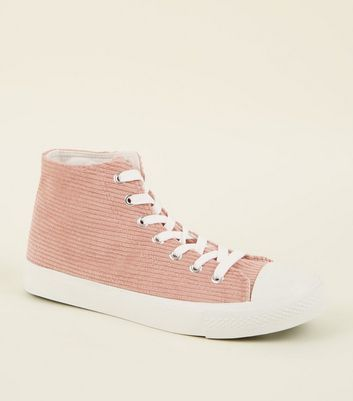 Pink Corduroy High Top Trainers
