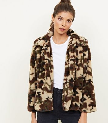 Mela Green Camo Faux Fur Jacket
