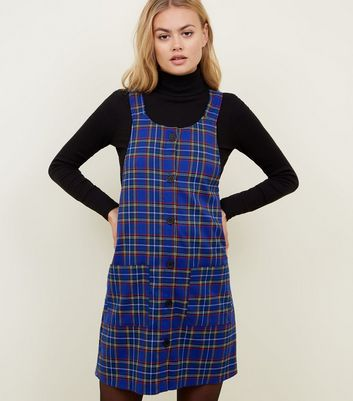 Blue Check Button Through Pinafore Dress
