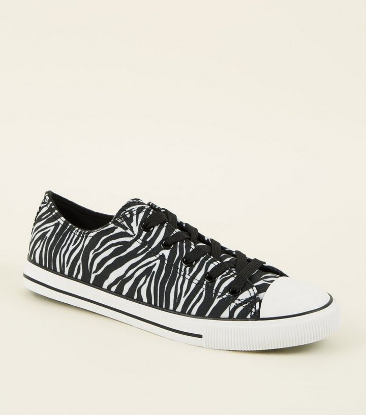 3970dca4d107 Black Canvas Zebra Print Lace Up Trainers | New Look