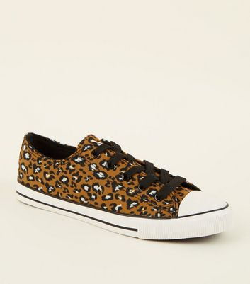 Mustard Canvas Leopard Print Lace Up Trainers