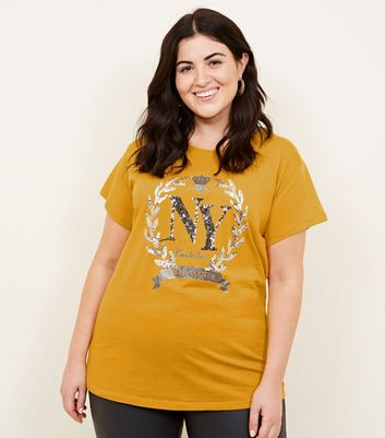 Curves Mustard Sequin and Glitter NY T-Shirt