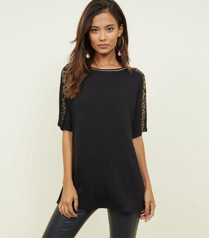 76dbad1823ea Black Leopard Print Gem Sleeve T-Shirt   New Look